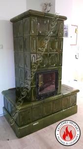 Cserépkályha Isaszeg, Bontott csempéből nagy üvegajtóval az ülőke Fűtött és alsó bekötéssel a kéménybe